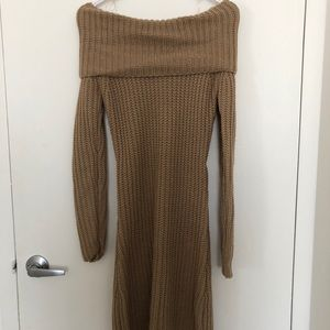 Off The Shoulder Sweater Dress with Open Back sz M